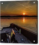 Sunset Fishing Dog Lake Acrylic Print