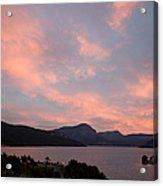 Sunset, Lake And Chapel Acrylic Print