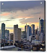 Sunset Over  Makati City, Manila Acrylic Print