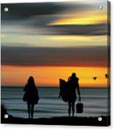Surfer Girls Silhouette Acrylic Print