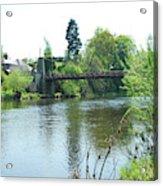 suspension bridge on river Teviot near Heiton Acrylic Print