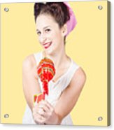 Sweet Lolly Shop Lady Offering Over Red Lollipop Acrylic Print