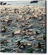 Swim Start Of Triathlon In Kailua Bay Acrylic Print