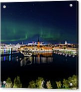 Swirly Aurora Over Stockholm And Gamla Stan Acrylic Print