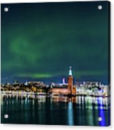 Swirly Aurora Over The Stockholm City Hall And Kungsholmen Acrylic Print