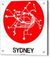 Sydney Red Subway Map Acrylic Print