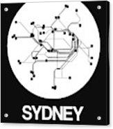 Sydney White Subway Map Acrylic Print