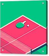 Table Tennis Table Isometric - Green Acrylic Print