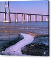 Tagus River And Vasco Da Gama Bridge Acrylic Print
