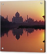 Taj Mahal & Silhouetted Camel & Acrylic Print