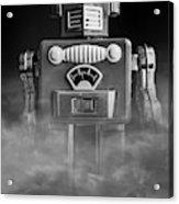 Take Me To Your Leader Vintage Tin Toy Robot Black And White Acrylic Print