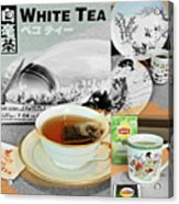 Tea Collage With Brush  Acrylic Print