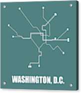 Teal Washington, D.c. Subway Map Acrylic Print