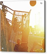 Teenage Boys 13-15 Playing Basketball Acrylic Print