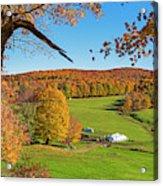 Tending To The Farm Woodstock Vermont Vt Vibrant Autumn Foliage Yellow And Orange Acrylic Print