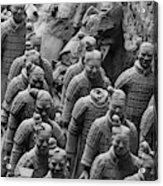 Terra Cotta Warriors In Black And White, Xian, China Acrylic Print