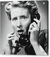 Terrified Woman Talking On Phone, B&w Acrylic Print