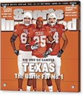 Texas Jamaal Charles, Justin Blalock, And Kasey Studdard Sports Illustrated Cover Acrylic Print