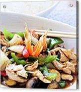 Thai Basil Chicken Dish And Bowl Of Acrylic Print