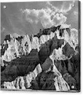 The Badlands In Black And White Acrylic Print