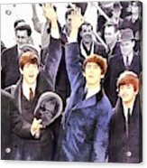 The Beatles 1964 Arrival In New York - A Watercolor Acrylic Print