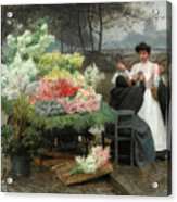 The Flower Vendor On The Quays In Paris Acrylic Print