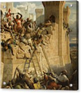 The Hospitalier Marechal Matthieu De Clermont, Defending The Walls At The Siege Of Acre, 1291 Acrylic Print