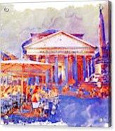 The Pantheon Rome Watercolor Streetscape Acrylic Print