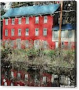 The Red House Along The Autumn Canal Acrylic Print