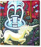 The Unicorn And Garden Acrylic Print