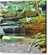 The Waterfall In Old Man's Cave Hocking Hills Ohio Acrylic Print
