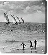 Three Boys Running Along Beach Acrylic Print