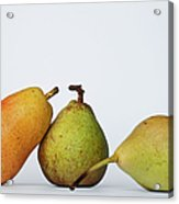 Three Diferent Pears Isolated On Grey Acrylic Print