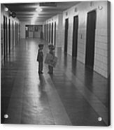 Three-yr-old Boy And Girl Talking In Emp Acrylic Print