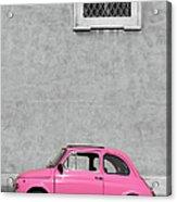 Tiny Pink Vintage Car, Rome Italy Acrylic Print