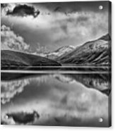 Topaz Lake Winter Reflection, Black And White Acrylic Print