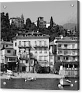 Town In The Shore Of Lake Como In Black And White Acrylic Print