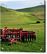Tractor Blades On Green Pasture Acrylic Print