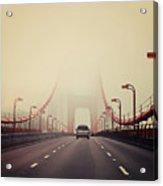 Traffic Crossing A Foggy Golden Gate Acrylic Print