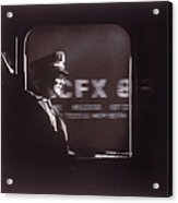 Train Conductor Looking Out Of Window Acrylic Print