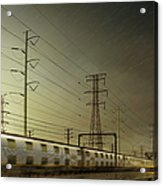 Train Speeding By Power Lines Acrylic Print