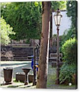 tree lamp and old water pump in Cochem Germany Acrylic Print