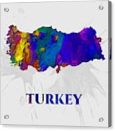 Turkey, Map, Artist Singh Acrylic Print