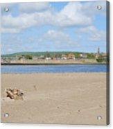 Tweed Estuary To Berwick-upon-tweed Medieval City Walls, Bridges Acrylic Print
