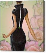 Twenty Pearls N Pink Roses Acrylic Print