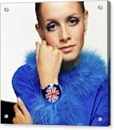 Twiggy in Blue with Union Jack Watch Acrylic Print