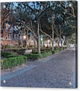 Twilight Panorama Of Charleston Waterfront Park Promenade And Shady Canopy Of Oaks - South Carolina Acrylic Print