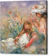 Two Children Seated Among Flowers, 1900 Acrylic Print