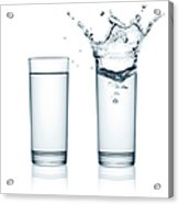 Two Glasses Of Water, One With Splashes Acrylic Print