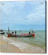 Two Thai Fishermen Take Equipment Onto Boat At Seaside Pattani Thailand Acrylic Print